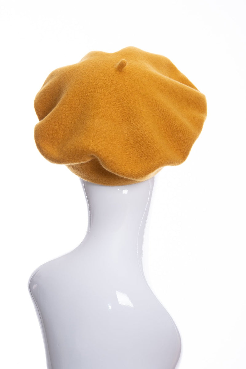 Kopka merino wool classic beret, gold, rear view