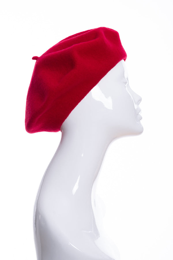 Kopka merino wool classic beret, cherry, side view