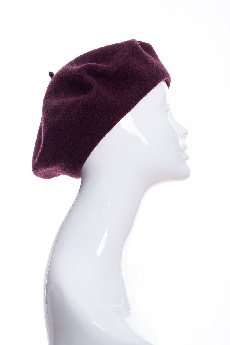 Kopka merino wool classic beret, bordeaux, side view