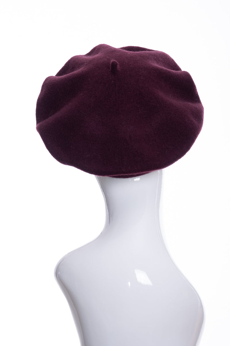 Kopka merino wool classic beret, bordeaux, rear view