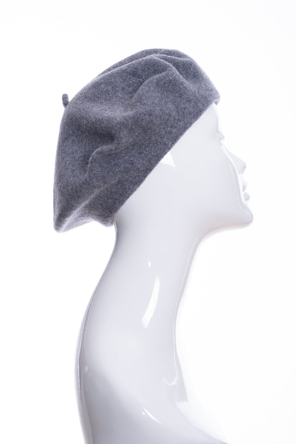 Kopka merino wool classic beret, grey marl, side view