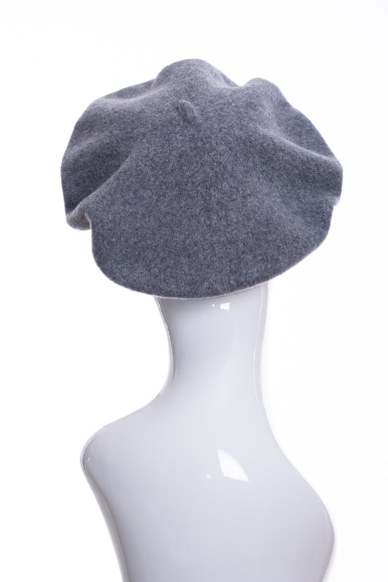 Kopka merino wool classic beret, grey marl, rear view