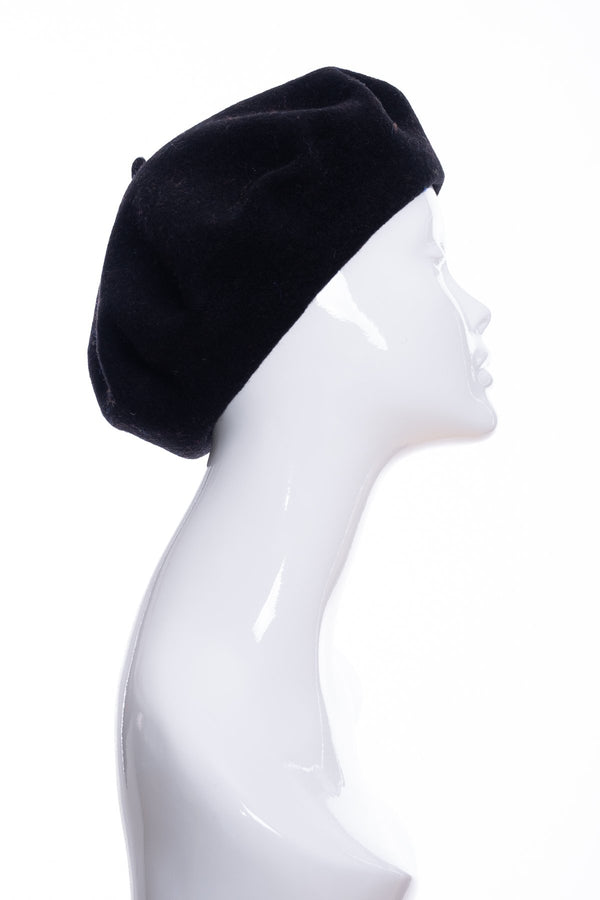 Kopka merino wool classic beret, black, side view