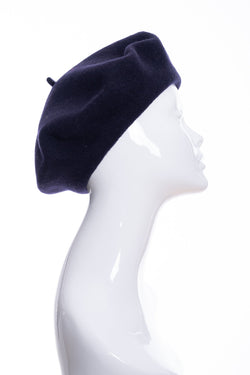 Kopka merino wool classic beret, navy, side view