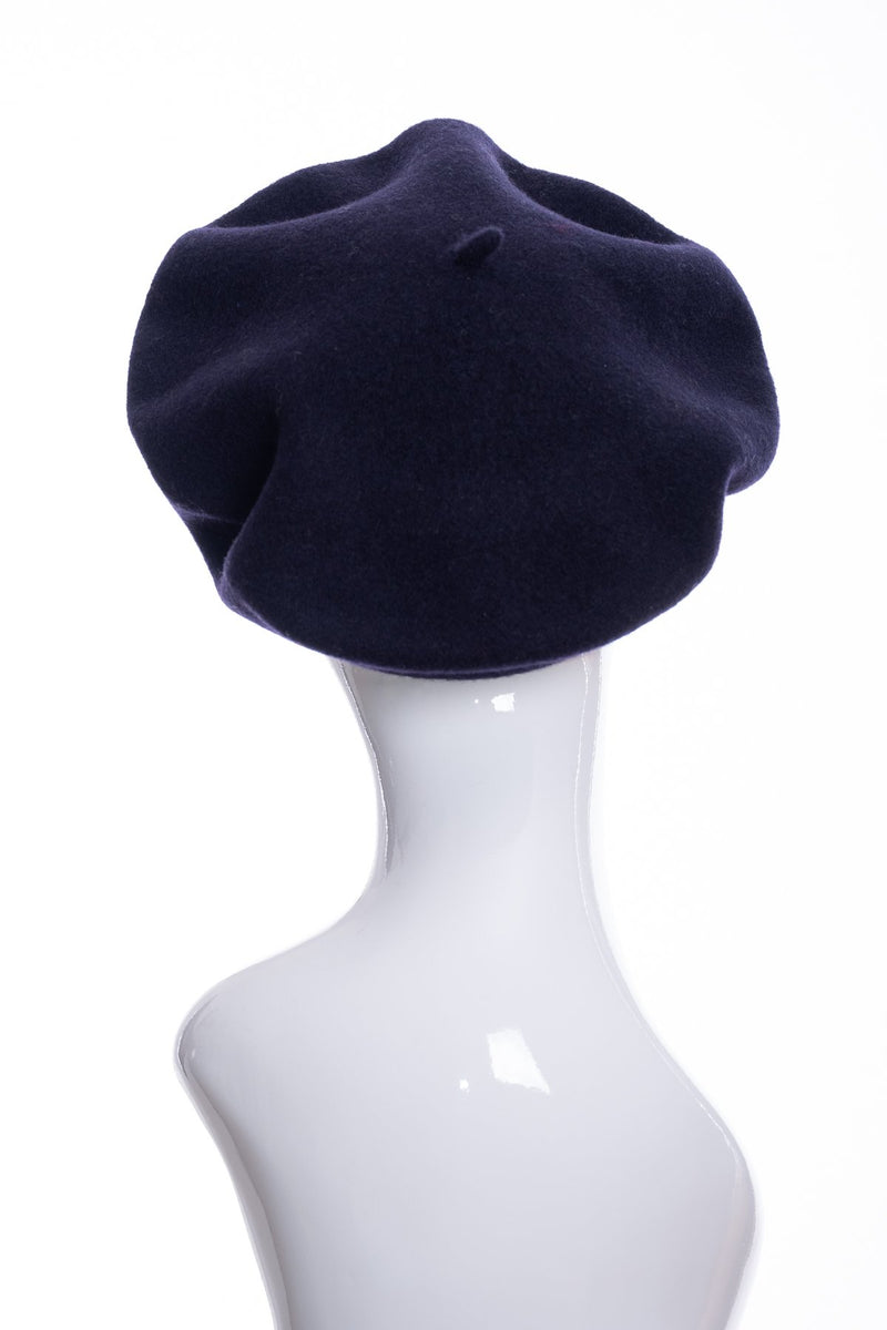Kopka merino wool classic beret, navy, rear view