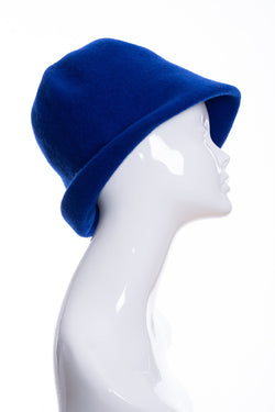 Kopka merino wool cloche hat, royal blue, side 1 view