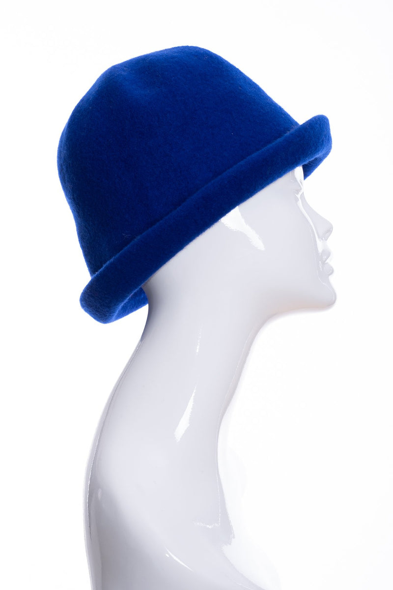Kopka merino wool cloche hat, royal blue, side 2 view