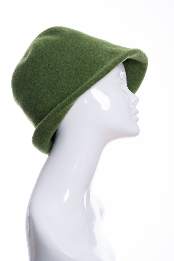 Kopka merino wool cloche hat, green marl, side 1 view