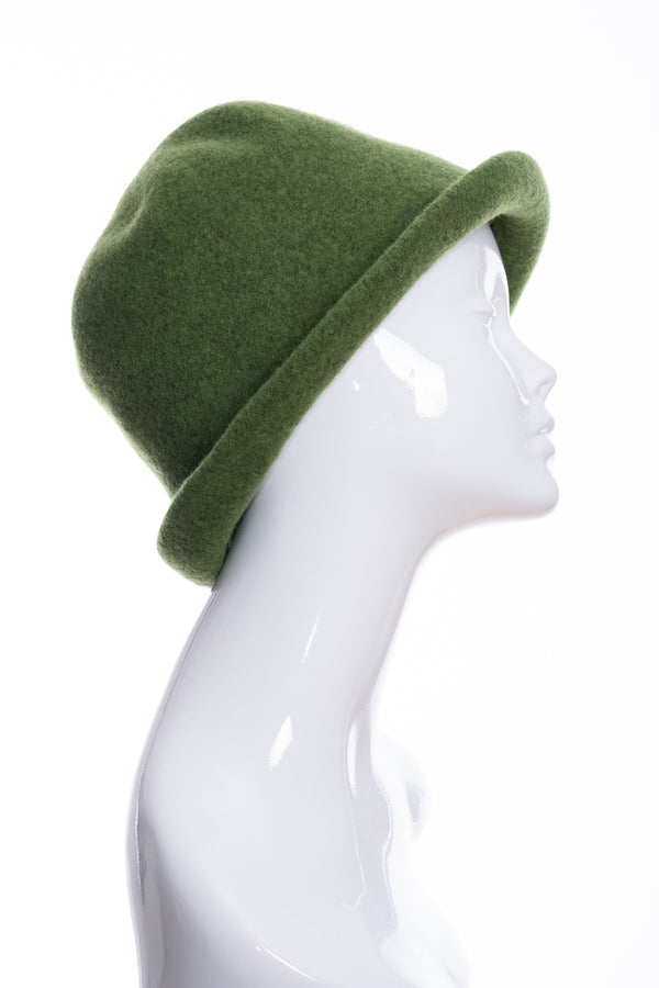 Kopka merino wool cloche hat, green marl, side 2 view