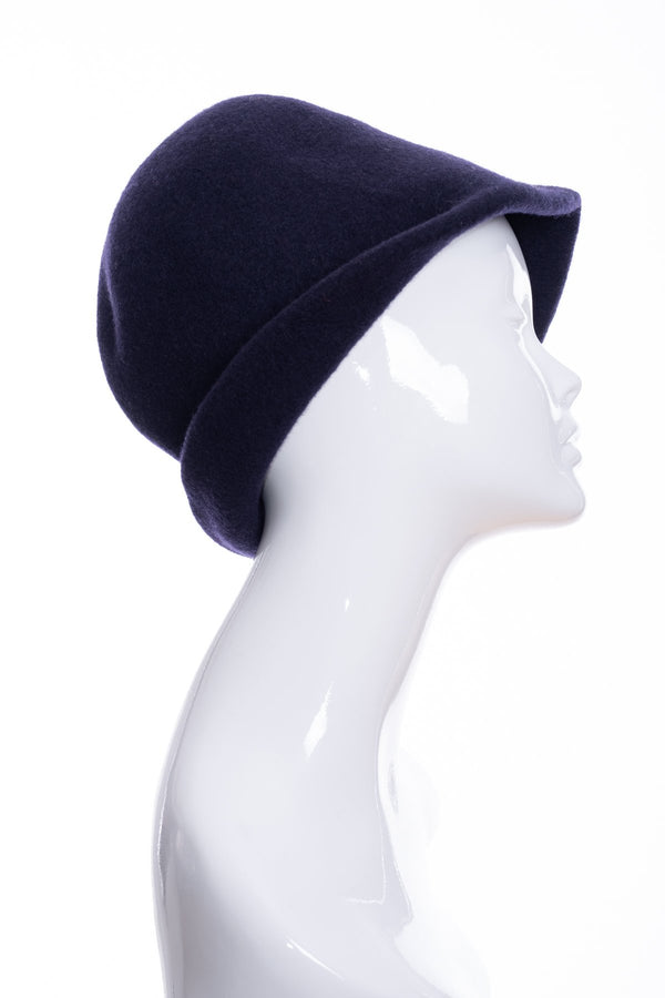 Kopka merino wool cloche hat, navy blue, side 1 view