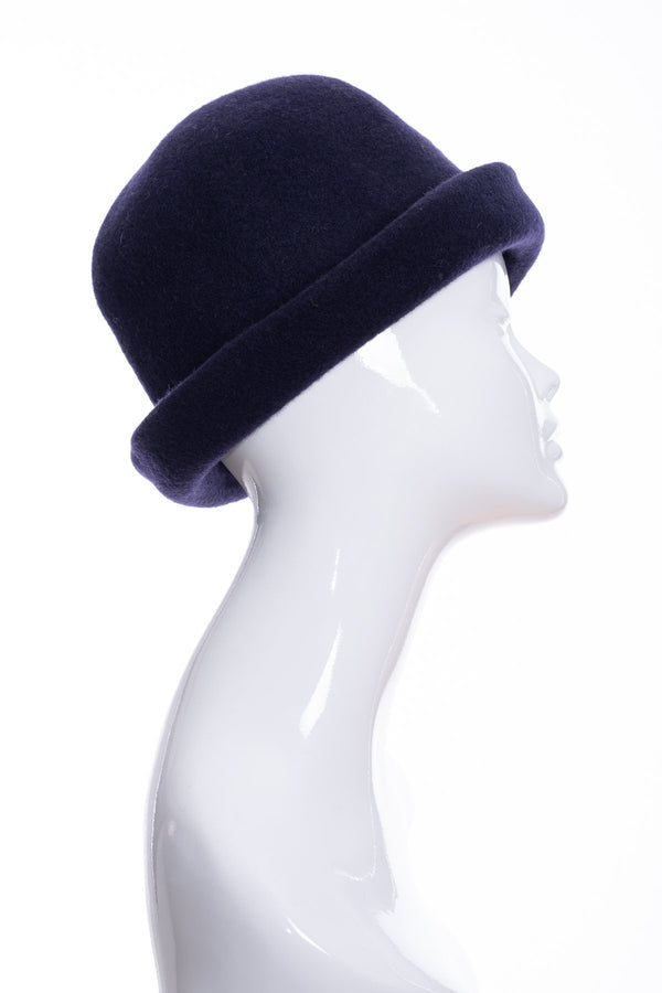 Kopka merino wool cloche hat, navy blue, side 2 view