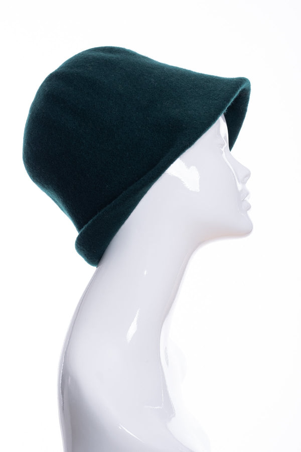 Kopka merino wool cloche hat, bottle green, side 1 view