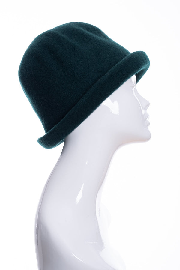 Kopka merino wool cloche hat, bottle green, side 2 view