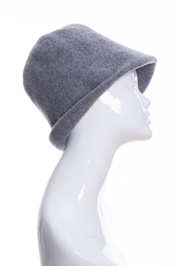 Kopka merino wool cloche hat, grey marl, side 1 view