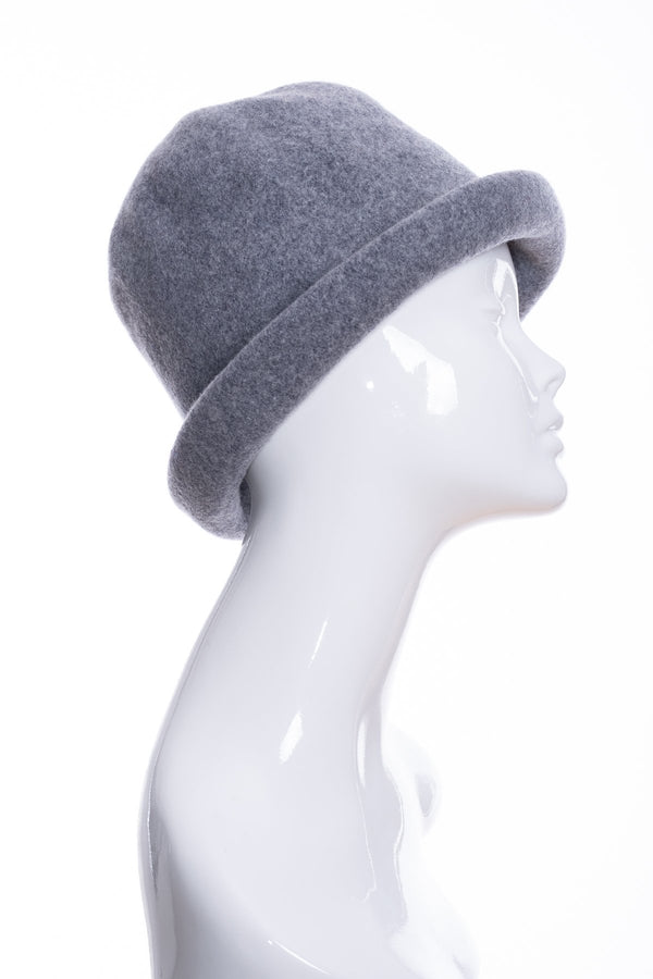 Kopka merino wool cloche hat, grey marl, side 2 view