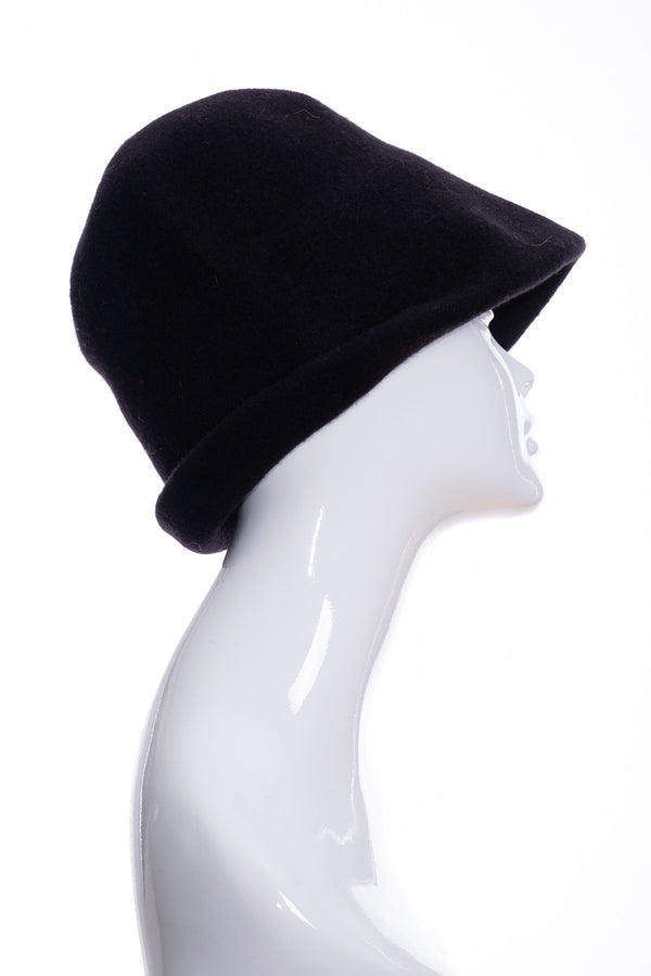Kopka merino wool cloche hat, black, side 1 view