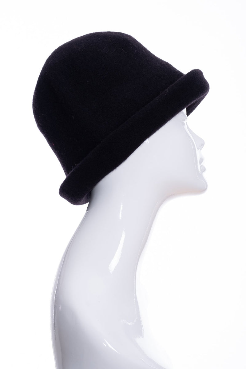Kopka merino wool cloche hat, black, side 2 view