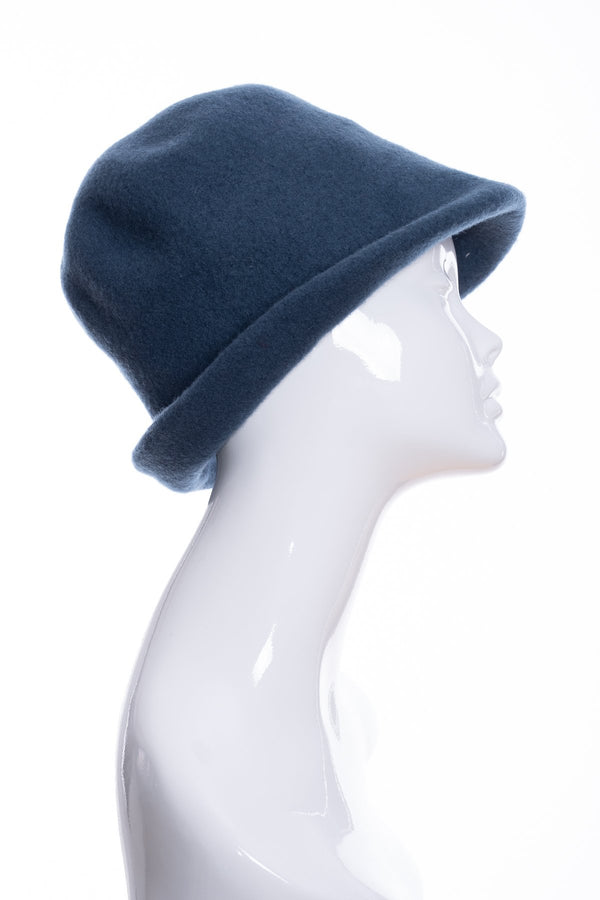 Kopka merino wool cloche hat, teal, side 1 view