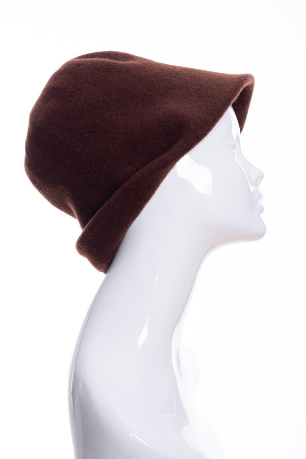 Kopka merino wool cloche hat, chocolate, side 1 view