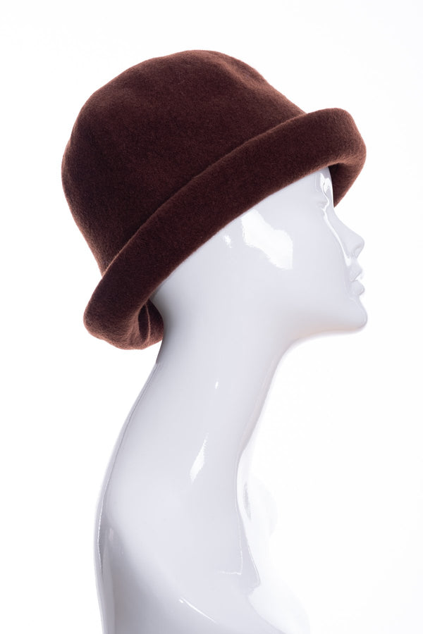 Kopka merino wool cloche hat, chocolate, side 2 view