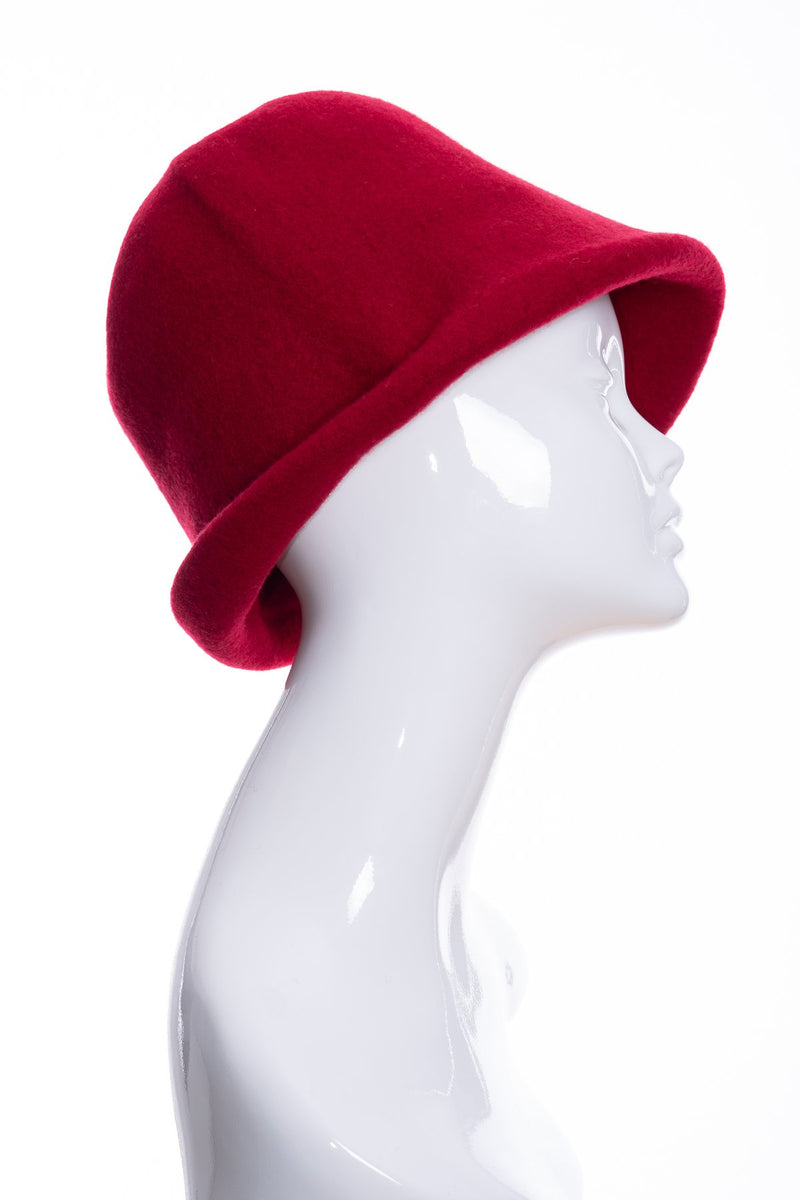 Kopka merino wool cloche hat, cherry, side 1 view