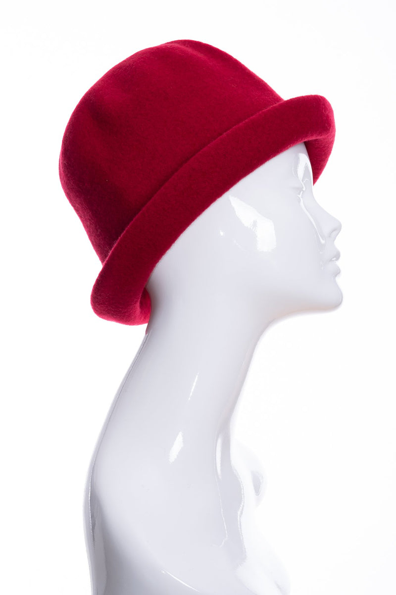 Kopka merino wool cloche hat, cherry, side 2 view