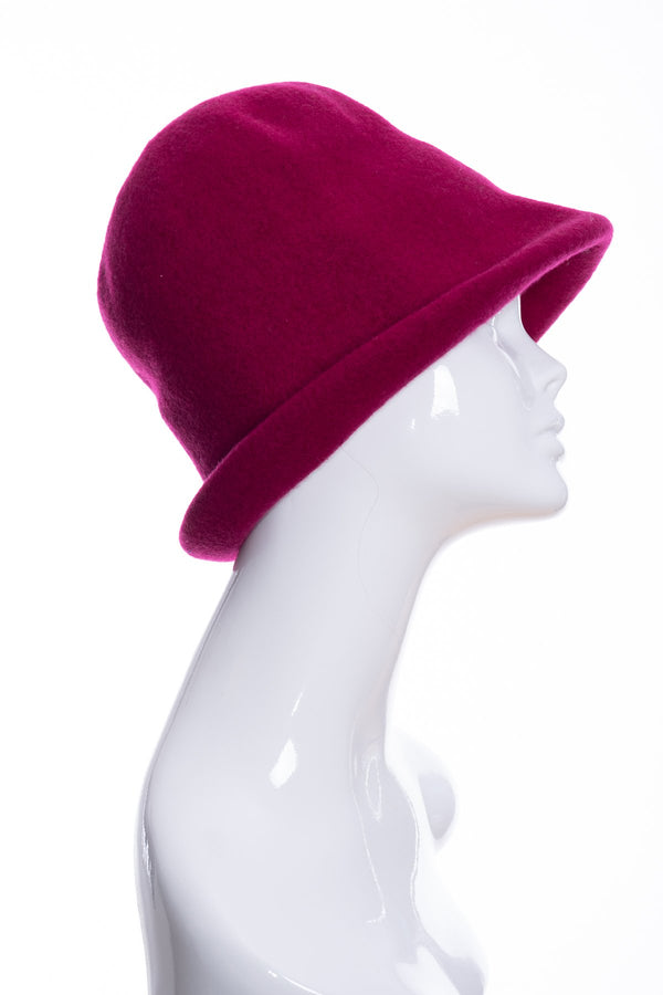 Kopka merino wool cloche hat, raspberry, side 1 view