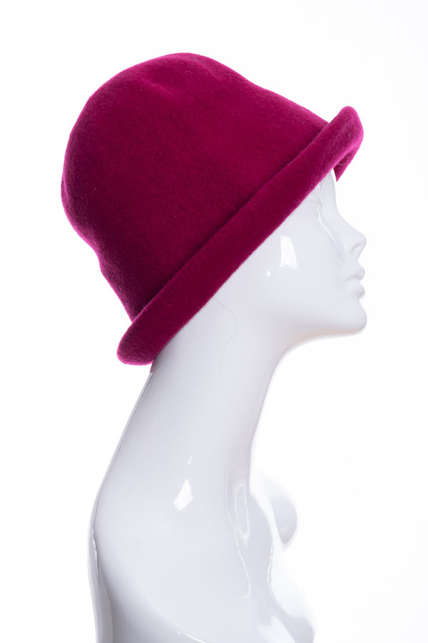 Kopka merino wool cloche hat, raspberry, side 2 view