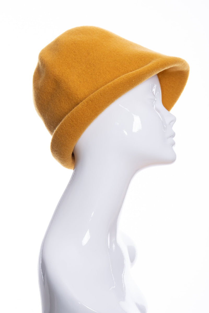 Kopka merino wool cloche hat, gold, side 1 view