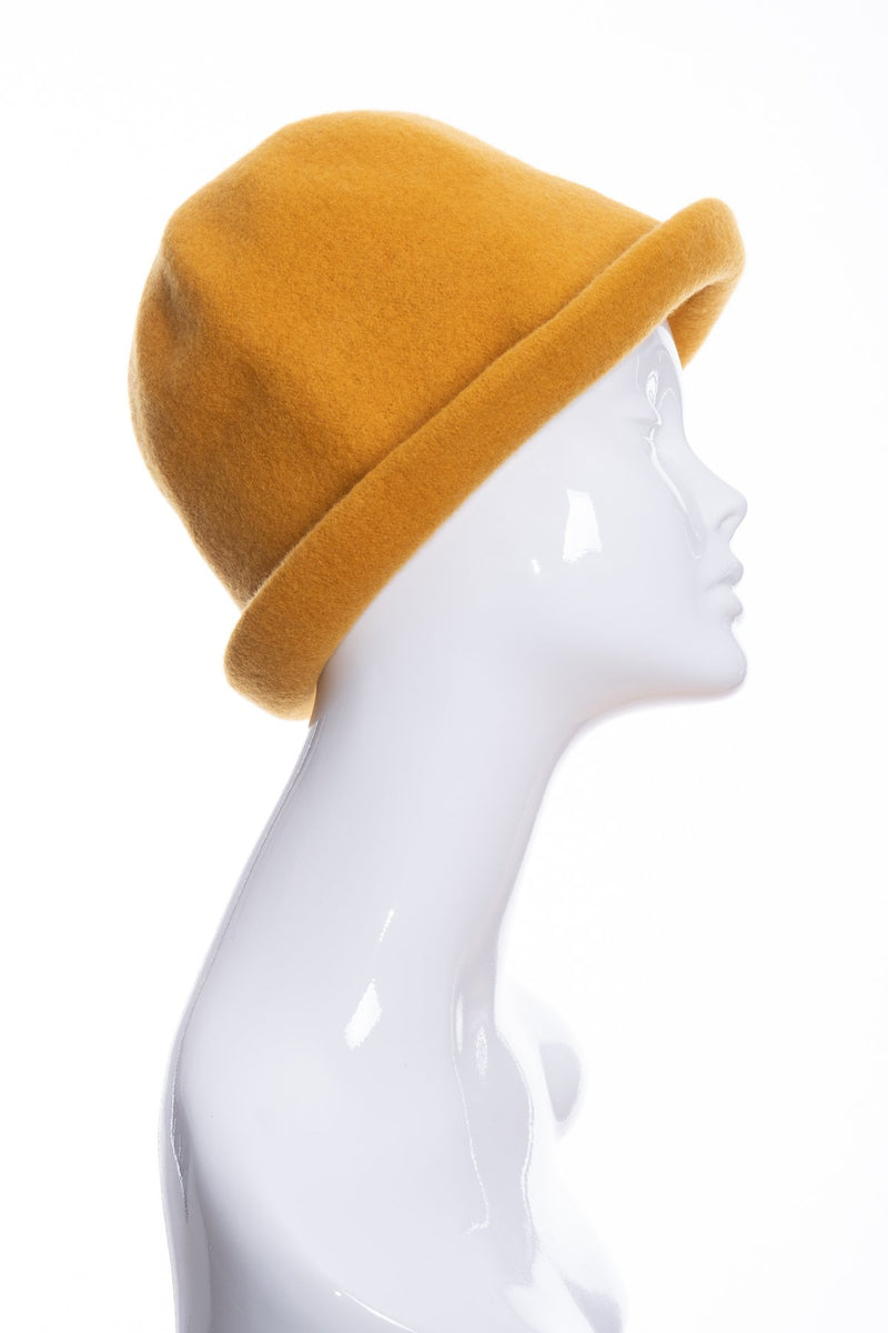 Kopka merino wool cloche hat, gold, side 2 view