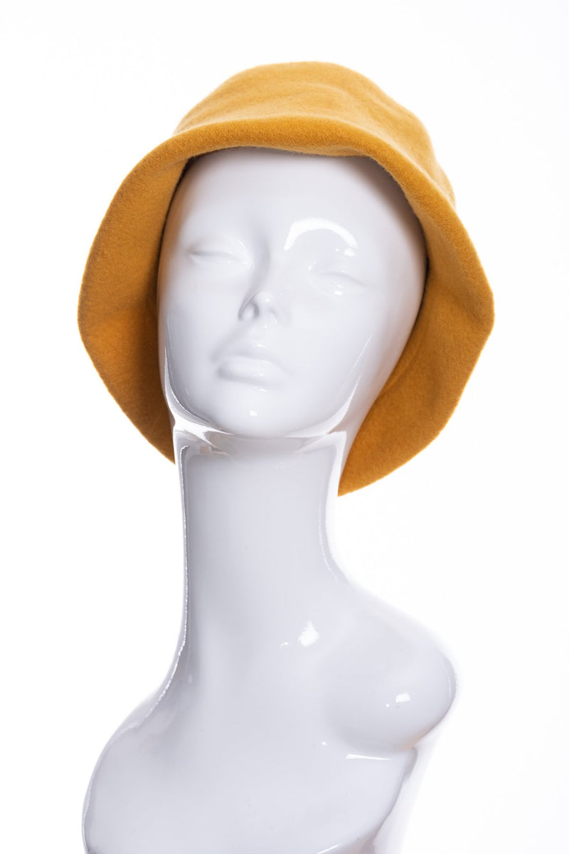 Kopka merino wool cloche hat, gold, front view