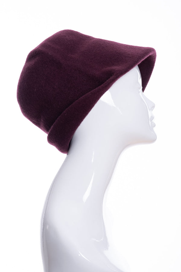 Kopka merino wool cloche hat, bordeaux, side 1 view