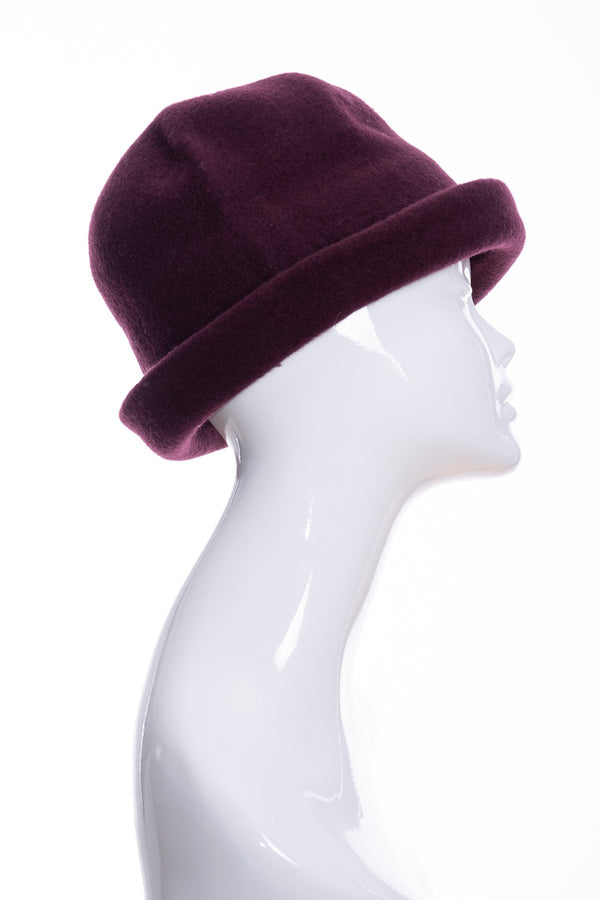 Kopka merino wool cloche hat, bordeaux, side 2 view