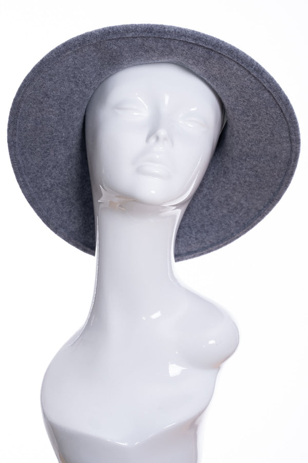 Kopka merino wool wide brimmed hat, grey marl, front view