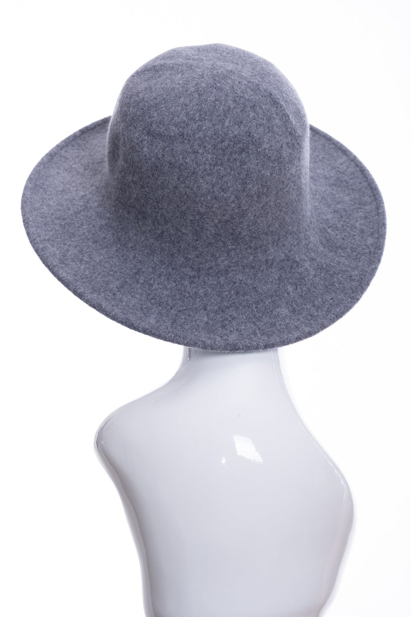 Kopka merino wool wide brimmed hat, grey marl, rear view