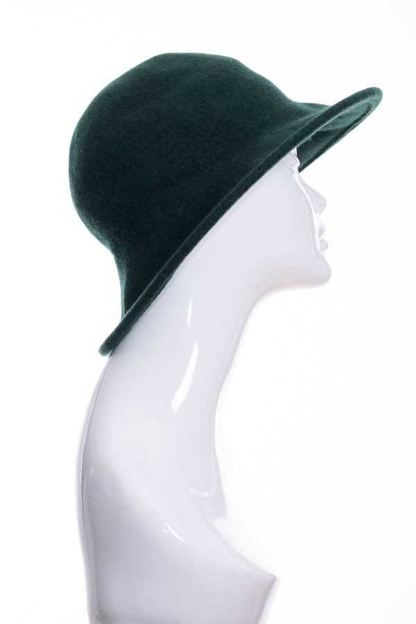 Kopka merino wool wide brimmed hat, bottle green, front view