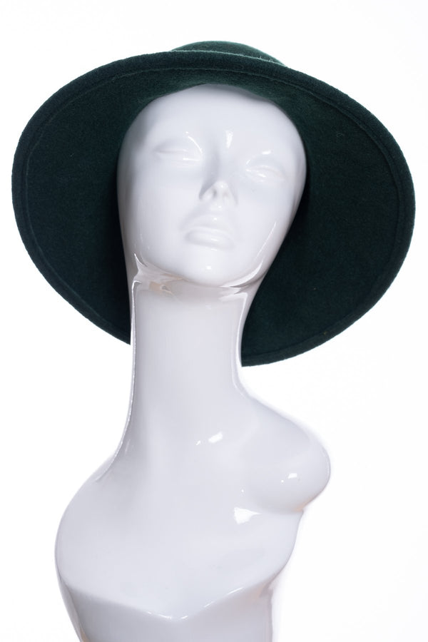 Kopka merino wool wide brimmed hat, bottle green, side view