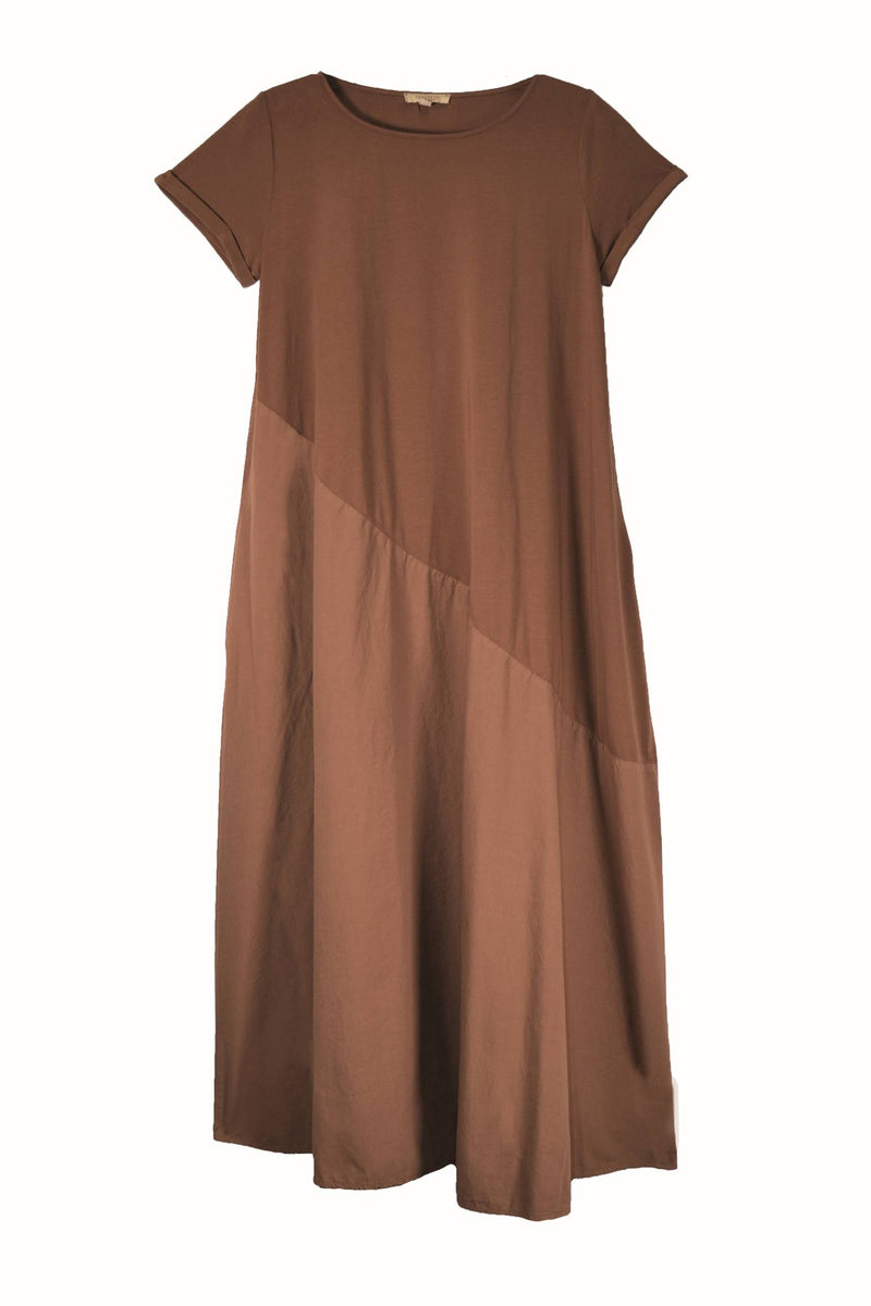 Humility dress, nutmeg, front view