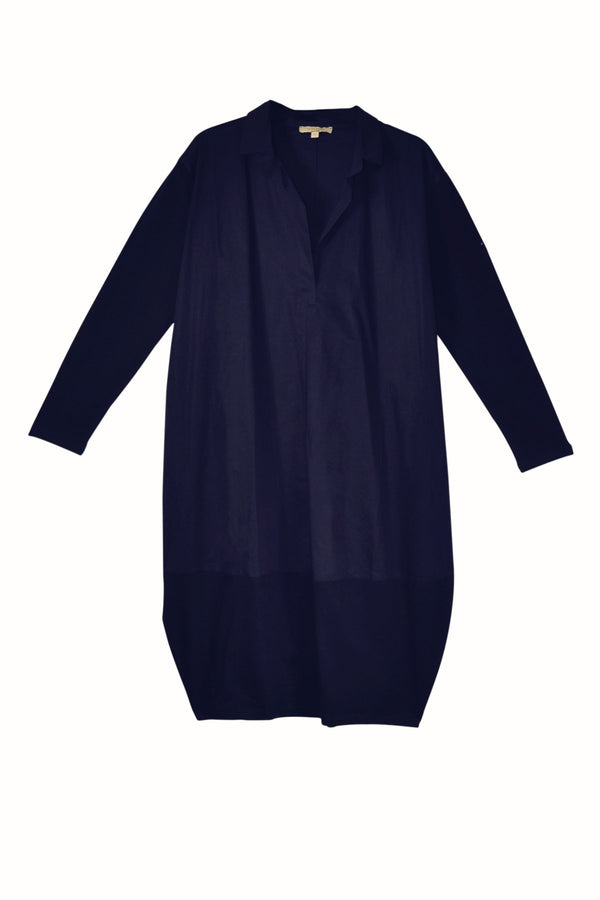 Humility tunic, navy, front view