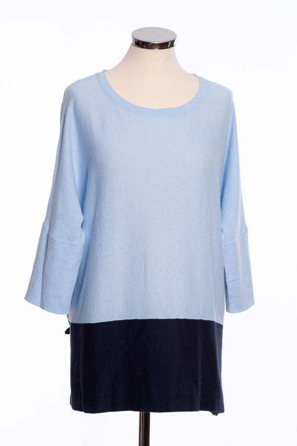 Ginger Toby Joss colour block jumper, pale blue and navy, front view