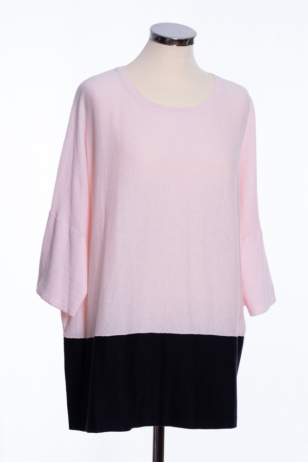 Ginger Toby Joss colour block jumper, pale pink and black, front view