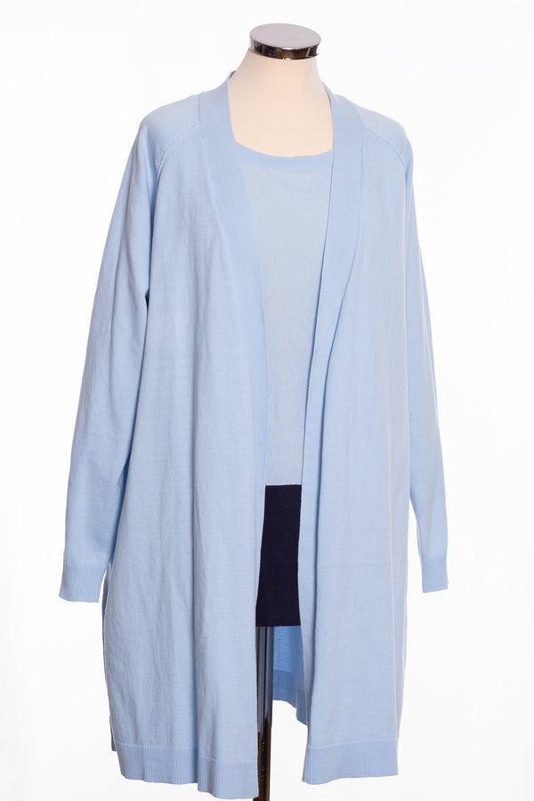 Ginger Toby Joss long line cardigan, pale blue, front view