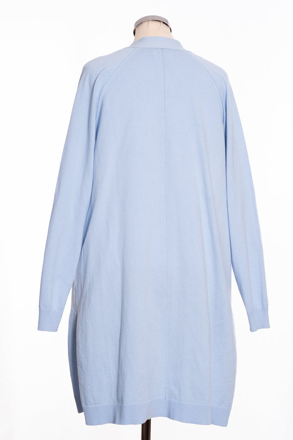Ginger Toby Joss long line cardigan, pale blue, rear view