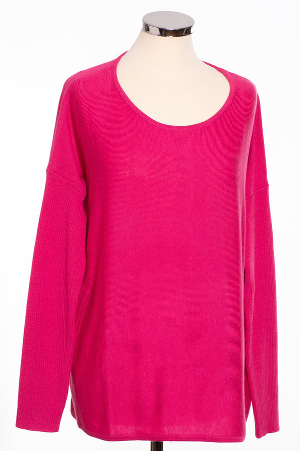 Ginger Toby bow back jumper, hot pink, front view