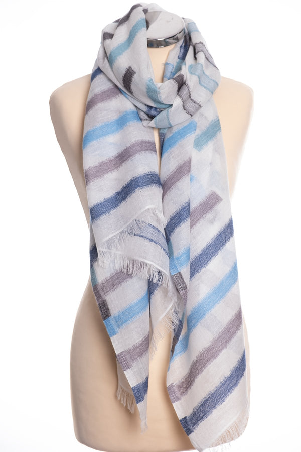 Kapre broken stripe scarf, blue and grey, tied view