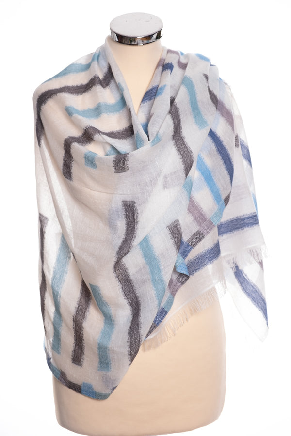 Kapre broken stripe scarf, blue and grey, wrap view