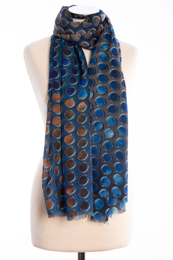 Kapre painted dots scarf, blue, tied view