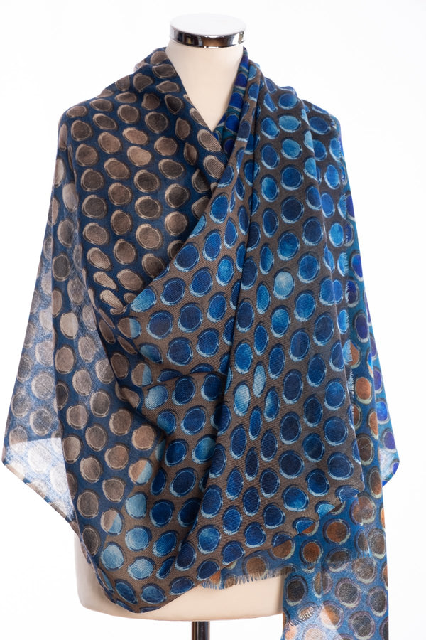 Kapre painted dots scarf, blue, wrap view