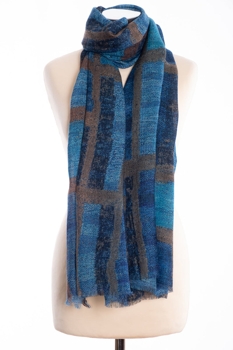 Kapre blocks and stripe scarf, blue, tied view