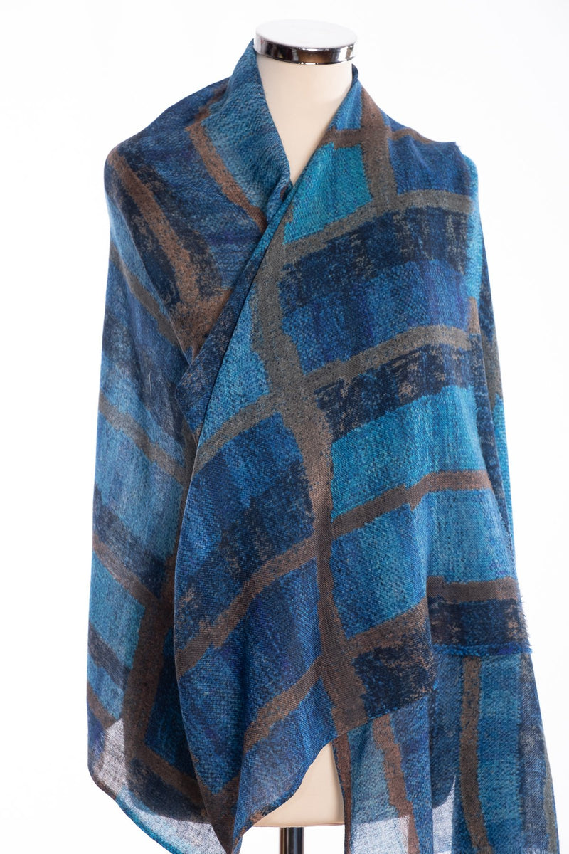 Kapre blocks and stripe scarf, blue, wrap view